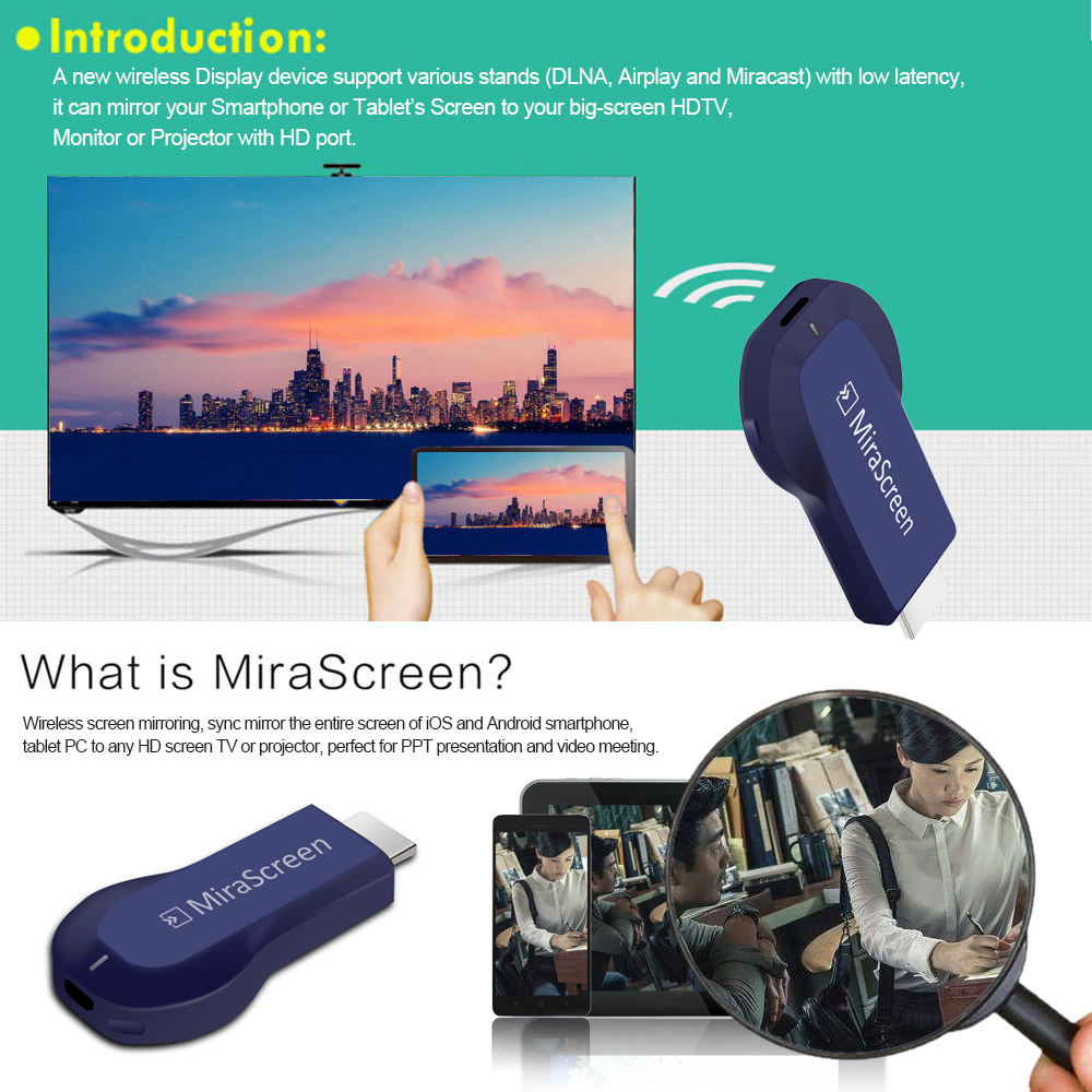 MiraScreen OTA TV Stick Smart TV HD Dongle Wireless dongle Receiver DLNA  Airplay Miracast oneanycasting PK Chromecast 2