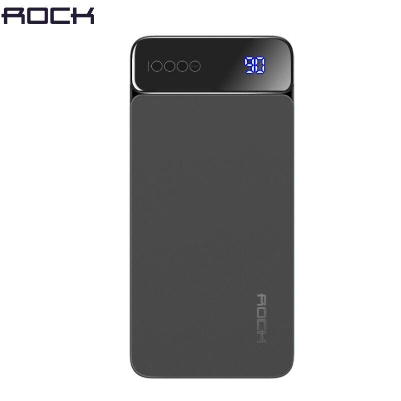 Digital Display LCD Power Bank for Xiaomi Mi, ROCK Portable 10000mah Power Bank Phone External Battery Powerbank 10000 mah Зарядное устройство