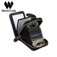 Westcreek Marca Simple de Cuero Genuino Casuales Órgano Multifuncional Titular de la Tarjeta de la Cremallera del Cerrojo Carteras Titular de la Tarjeta de Crédito