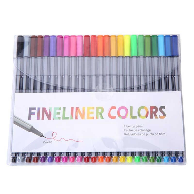 0.4 Mm 24 renkler Fineliner kalemler boyama kitabı ile makro süper ince çekme renkli kalem resim kalemi kalem su bazlı mürekkep
