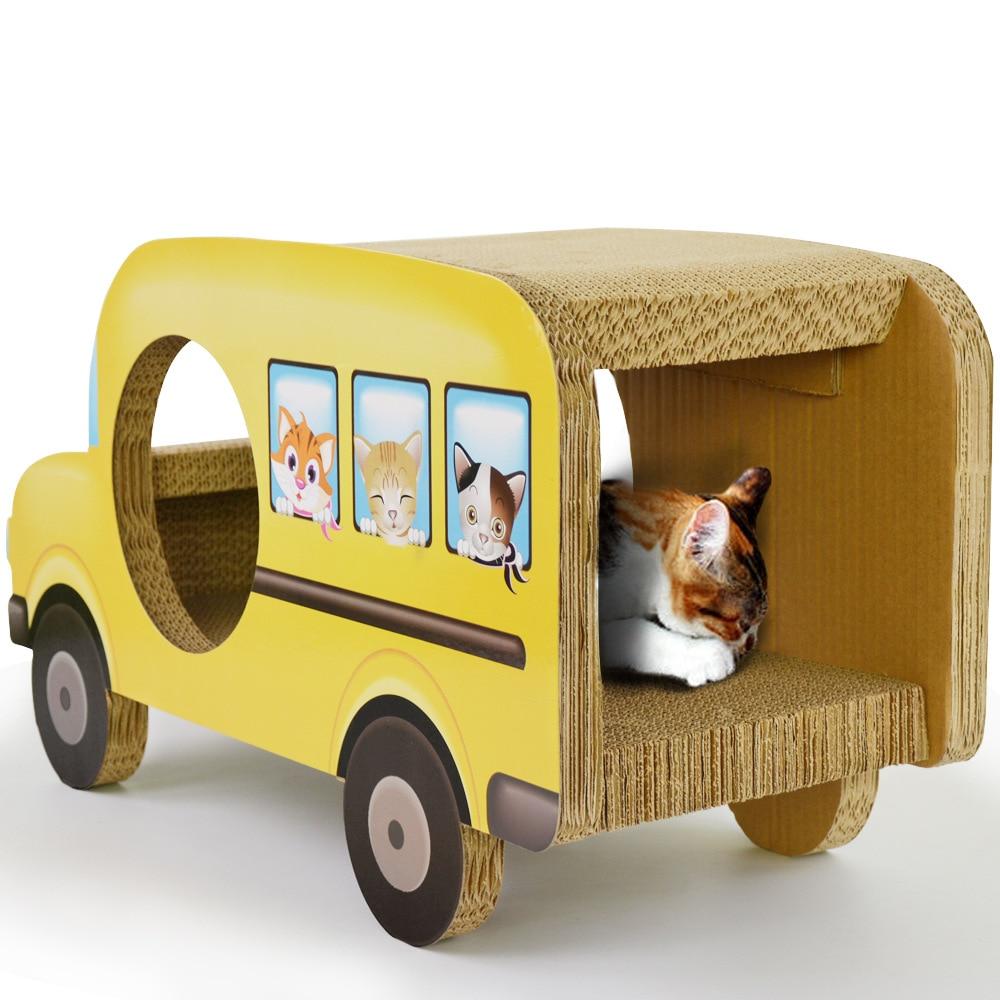 Carta ondulata gatto che gioca di gatto gatto di bordo divano Jinguizi giallo scuola bus gatto bordo graffio di gatto graffio Bus graffi mat - 3