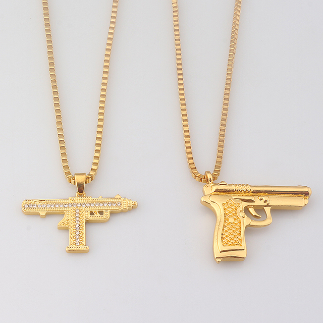 Rj fashion domineering gold gun pendant necklaces 2 style gun mens rj fashion domineering gold gun pendant necklaces 2 style gun mens hip hop punk necklace men aloadofball Image collections