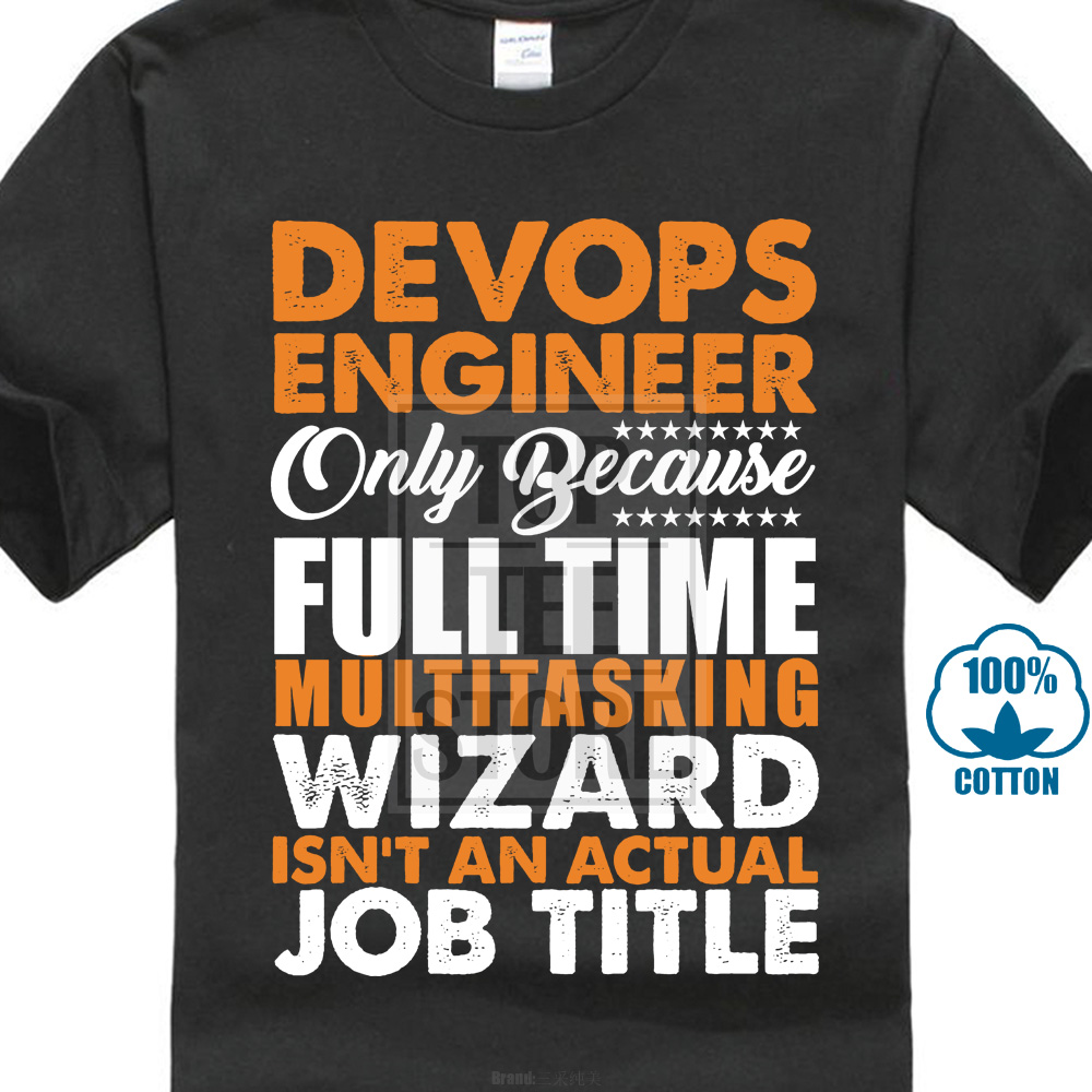 100% Cotton O Neck Custom Printed Men T Shirt Devops Engineer Is Not An Actual Job Title Funny Women T Shirt image
