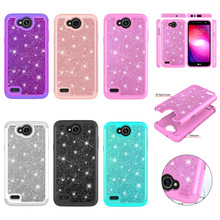 Case for LG X Power 2 Bling Glitter Dual Layer PC Silicone Back Capa Cover Phone Accessories