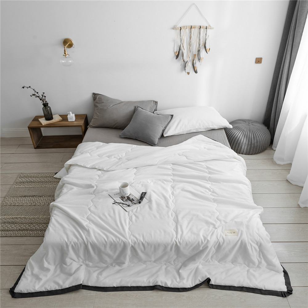 Simple style Pure Color Summer Quilt Bedspread Blanket white Comforter soft Bed Cover Twin full Queen