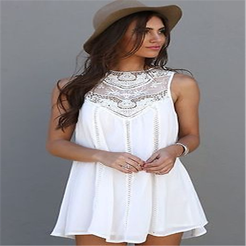 1bd2e4fd0e9a 2018 Brand New Women Lace Sleeveless Long Tops Blouse Shirt Ladies Beach  BOHO Mini Dress White Size 6 12-in Dresses from Women's Clothing on  Aliexpress.com ...