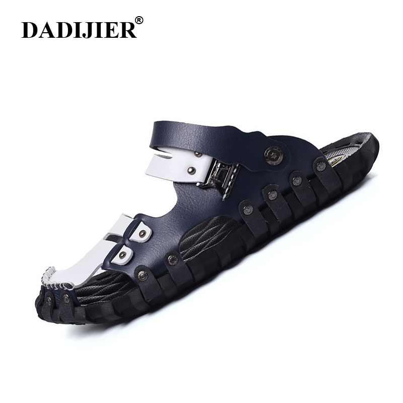 DADIJIER Man Sandals 2018 Fashion Brand Casual Flat Heels Spilit Leather Male Retro Beach Slipper Men's Roman Summer Shoes ST96