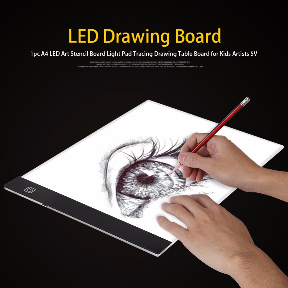1pc A4 Led Art Stencil Board Light Pad Tracing Drawing Table Board For Kids Artists With Cable Art Sets