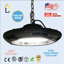 Stock in USA UL DLC listed led UFO high bay light 150W 200W Industrial AC85-265V ip65 5 years warranty ufo ceiling