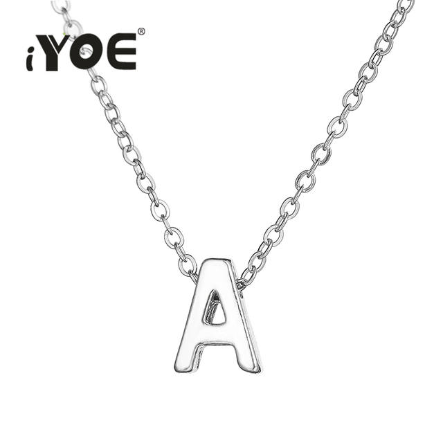 iyoe gold color tiny letter charm necklace for women men kids initials name choker chain necklaces