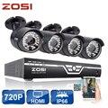 ZOSI 8-КАНАЛЬНЫЙ ВИДЕОНАБЛЮДЕНИЯ Система 720 P HDMI 1.0MP AHD CCTV DVR 4 ШТ. HD ИК Ночного Видения Открытый Камеры Безопасности Дома Системы Видеонаблюдения Комплект