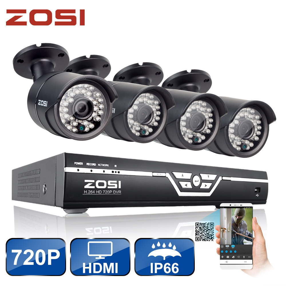 ZOSI 8CH CCTV System 720P HDMI AHD CCTV DVR 4PCS 1.0MP HD IR Night Vision Outdoor Home Security Camera Surveillance System Kit sannce cctv system 720p 8ch hd security dvr kit outdoor ir night vision ahd camera kit home security surveillance system 1tb hdd