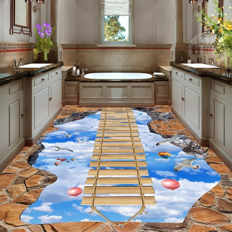 Free Shipping Sky Wooden Bridge 3D PVC custom floor painting home ...