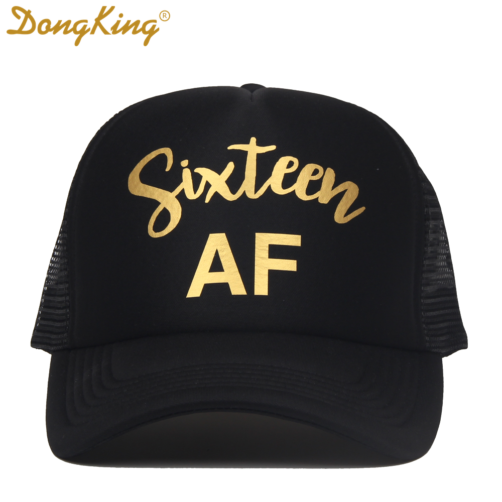 DongKing Sixteen Trucker Hats 16th Birthday Hat 16 Years Old Caps Girls Gift Golden Printed SQUAD Party In Baseball From Apparel
