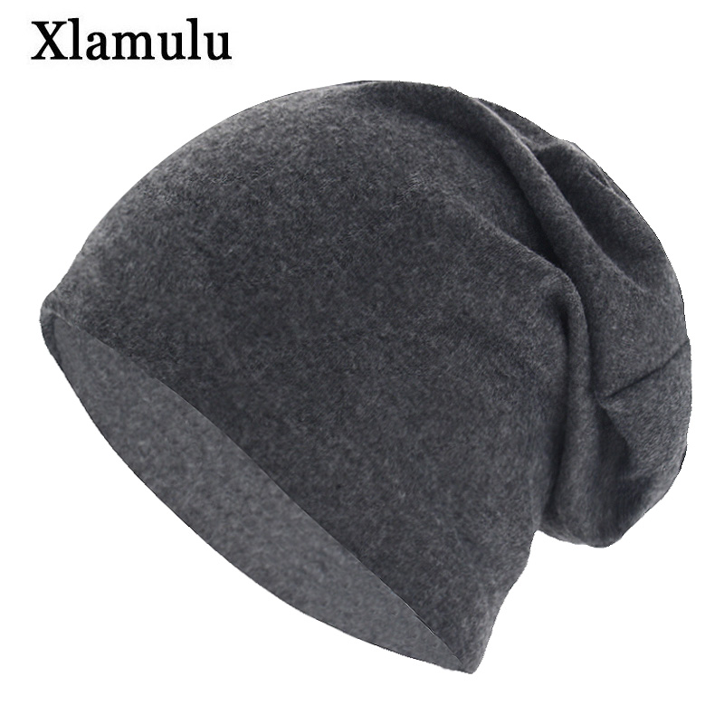 Xlamulu Autumn Skullies Beanies Hat Solid Soft Women Winter Hats For Men Caps Male Bonnet Mask Men's Beanie Wool Hat Female Cap