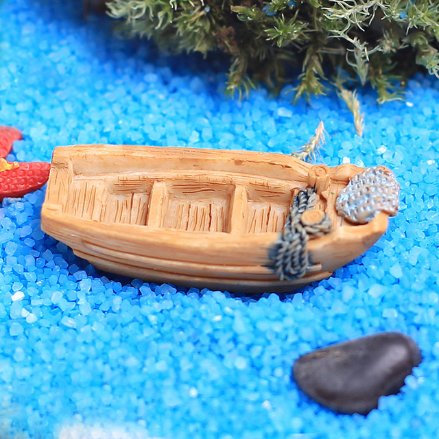 Mini Boat Resin Craft Miniature DIY Crafts Wedding Home Decoration Garden Ornaments Bonsai Accessory