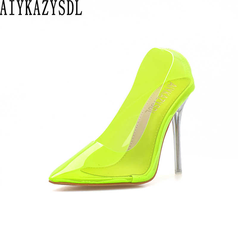 AIYKAZYSDL Summer Women Neon Green Sandals Fluorescent Clear Transparent Thin High Heel Pointy Toe Pumps Court Shoes Stilettos