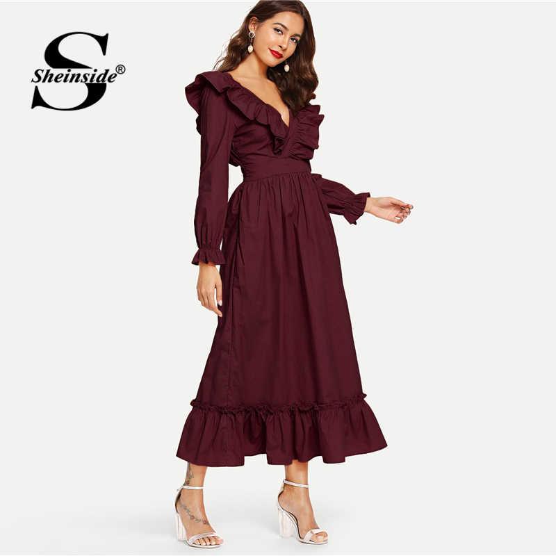 Sheinside Burgundy Backless Wrap Party Dress Women 2019 Spring V Neck Ruffle Dresses Elegant Bishop Sleeve A Line Maxi Dress