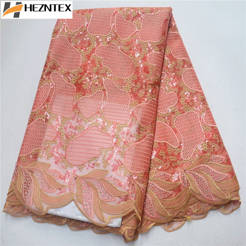 Peach Design African Organza Lace High Quality French Sequins Lace Fabric 2019 African Tulle Lace Fabric for Wedding PSA431-1