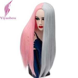 Image 1 - Yiyaobess 28 pollici della Parte Centrale Lungo Rettilineo Cosplay Parrucca Sintetica Dei Capelli di Colore Rosa Grigio Nero Bianco Rosso Ombre Donna Parrucche Per halloween