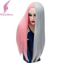 Yiyaobess peruca média, peruca longa reta longa, de cabelo sintético, rosa, cinza, preta e branca, vermelha halloween dia das bruxas