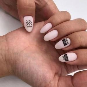 Image 5 - 1 sztuk 3D paznokci suwak czarny rosja naklejka w kształcie litery tekst napis klej Manicure porady paznokci dekoracje artystyczne