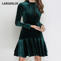 LARGERLOF Dress Velvet Women Green dress Full Sleeve Stand 2019 Spring Summer Women's Dress DS45015