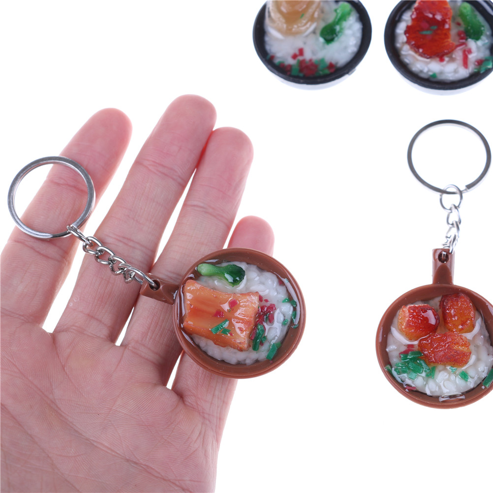 1pcs Cute Simulation Food Keychain Simulation Food Pendant Key Ring Novelty Key Chain Christmas Birthday Gift