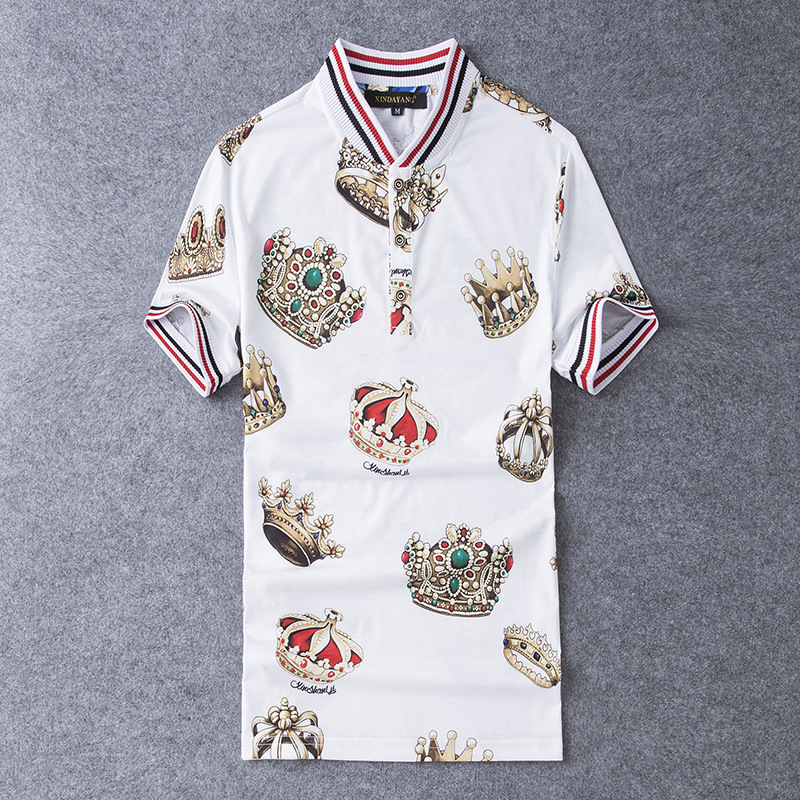 New 2019 Men Embroidered Crown Striped   Polo   Shirts Shirt Hip Hop Skateboard Mercerized cotton   Polo   Top Tee Plug size S-5XL #K08