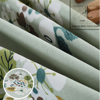 280cm Wide White Green Flowers Cotton Linen Blackout Drapery Fabric Window Curtains Fabric Tablecloth Craft Fabric