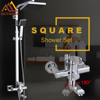 Solid Brass Rotatable Mixer Chrome Polish Square Rainfall Shower Faucets Set Water Taps With Handshower For