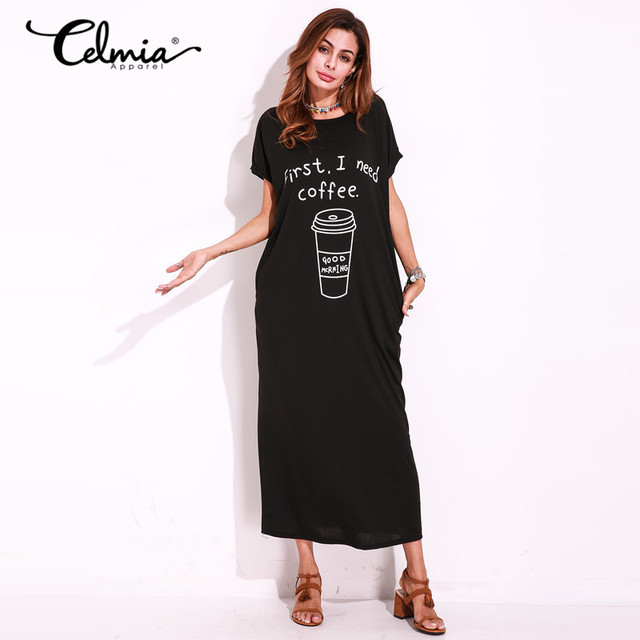 Autumn Basic Long Shift Dress Short Sleeve Sexy Graphic Print Loose Maxi Dresses  Tee T shirt