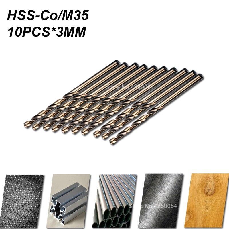 10Pcs High Speed Steel HSS-Co 5/% M35 Cobalt Drill Bit Set Steel Pounch 1-3.5MM