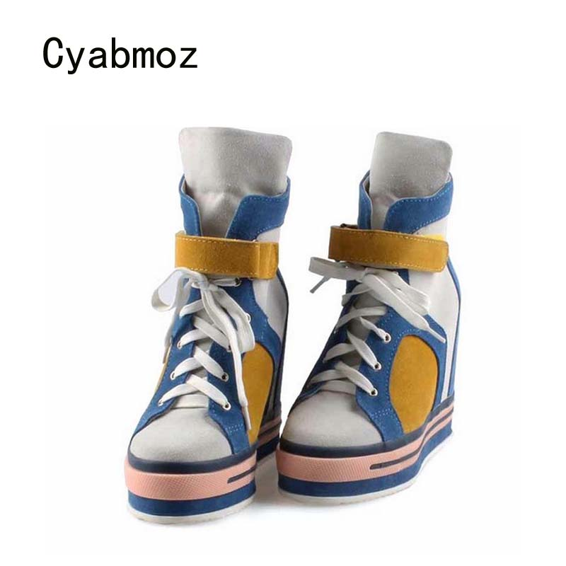 Cyabmoz Women Shoes Woman High Heels Platform Mixed Color Ladies Height increasing Shoes Zapatillas Zapatos Mujer Tenis Feminino цена и фото