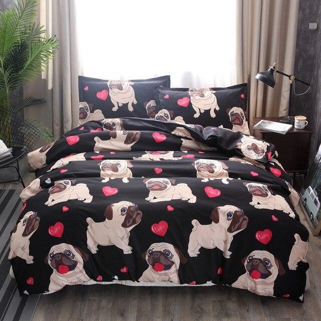 Черный мопс постельных принадлежностей Сердце Собаки Постельное белье 2/3 шт набор кровать двуспальная queen Стёганое одеяло крышка постельное белье (без лист без наполнения)