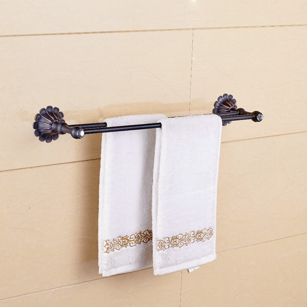 Bathroom double towel bar wall mounted copper towel rod - Oil rubbed bronze towel bars for bathrooms ...