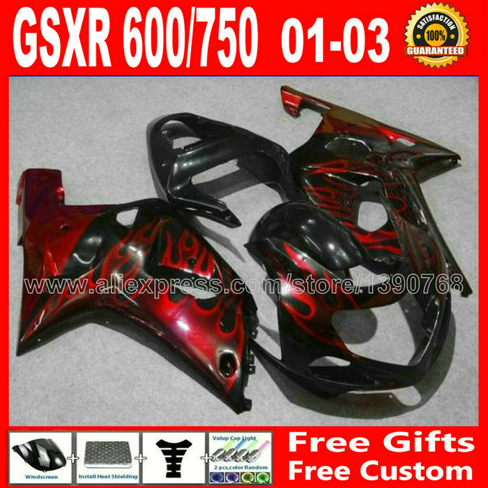 7 gift fairing kit for black red flames 2001- 2003 SUZUKI GSXR 600 750 K1 #856 GSX R600 R750 01 02 03 LG03 title=