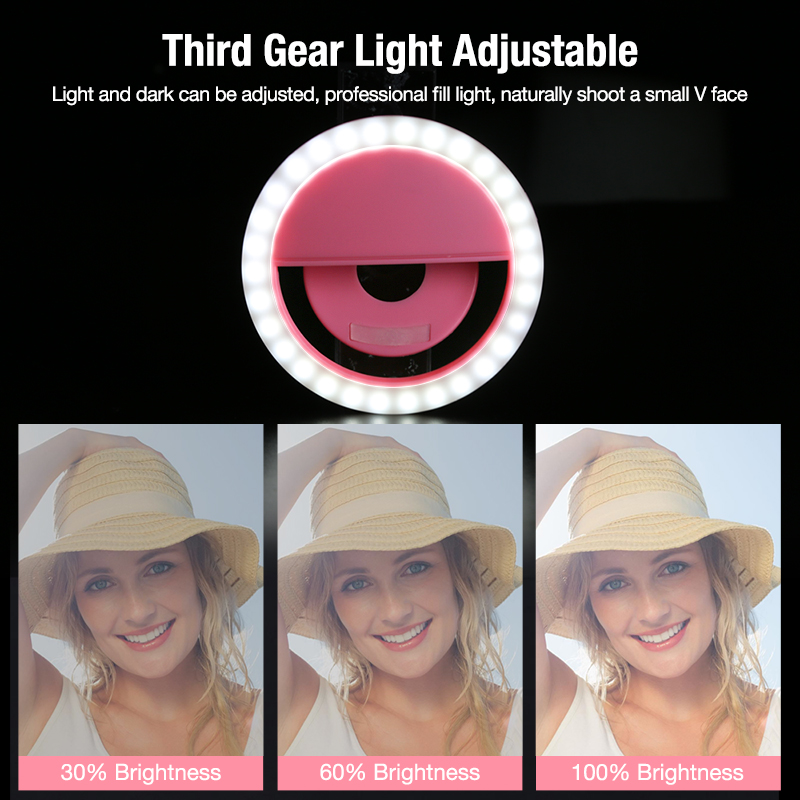 Coolreall LED Selfie Light Portable Mobile Phone Clip Lamp For IPhoneiPhone XR XS Max Samsung S10 Note9 Led Ring Selfie Led Ring