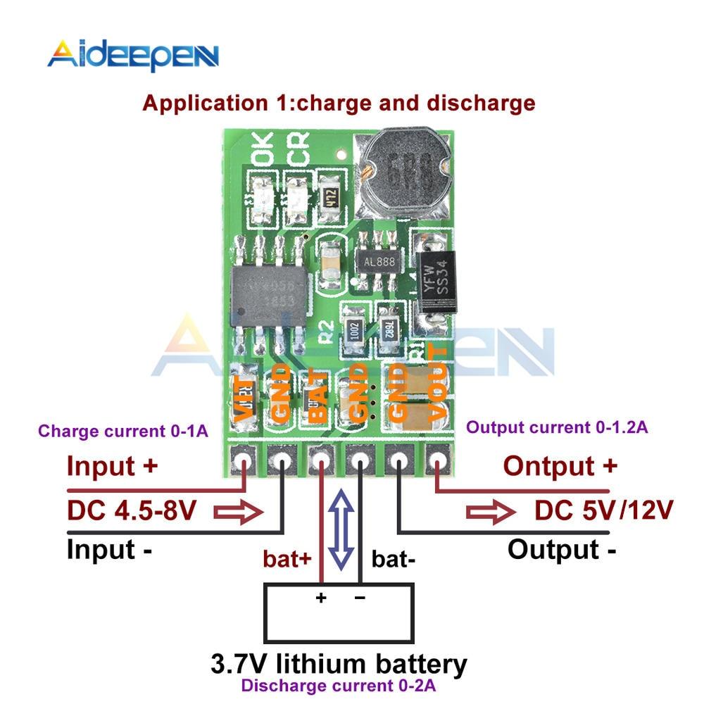 Convertisseur cc 5/12V cc, Module de décharge, onduleur, batterie au Lithium li-lon, à monter