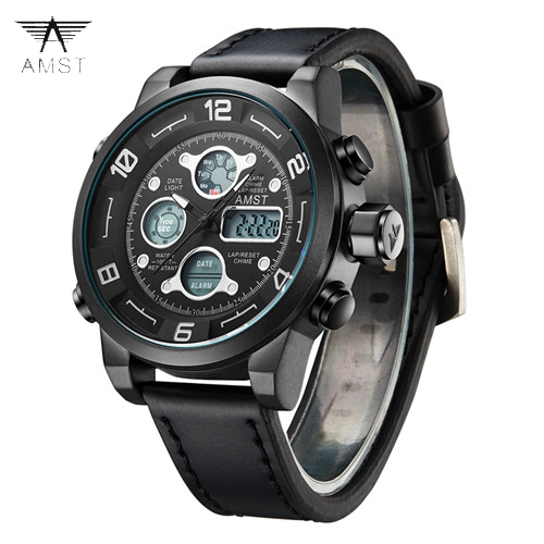 2018 AMST Brand Quartz Watch for men casual LED digital sports watches multi-function waterproof army military clock 2020-1-2 multi function casual men quartz sports watch