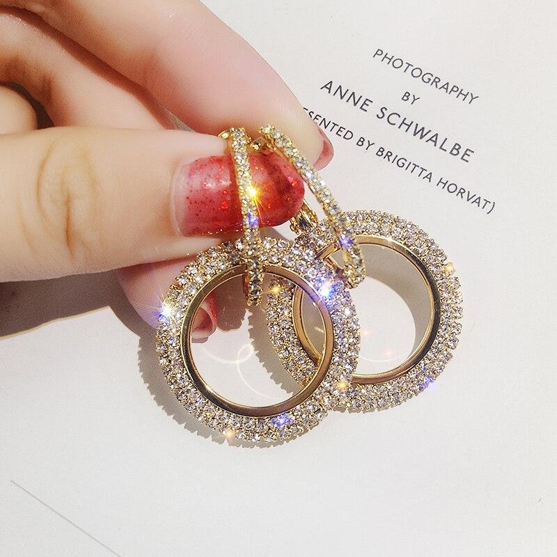 2019 Neue 925 Silber Nadel Strass Kreis Kristall Von Swarovski Lange Ohrringe Temperament Koreanische Persönlichkeit Wilden Ohrringe