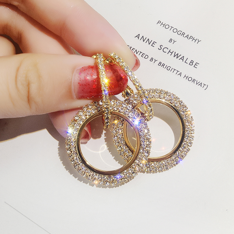 2019 NEW 925 silver needle rhinestone circle crystal
