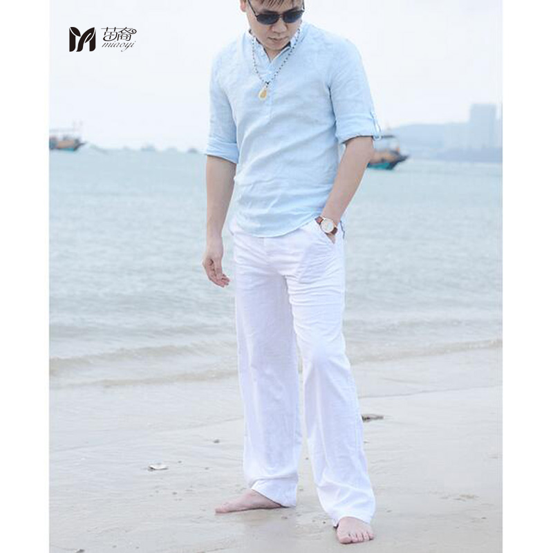 new high quality men 39 s summer casual pants natural cotton linen trousers white linen elastic. Black Bedroom Furniture Sets. Home Design Ideas