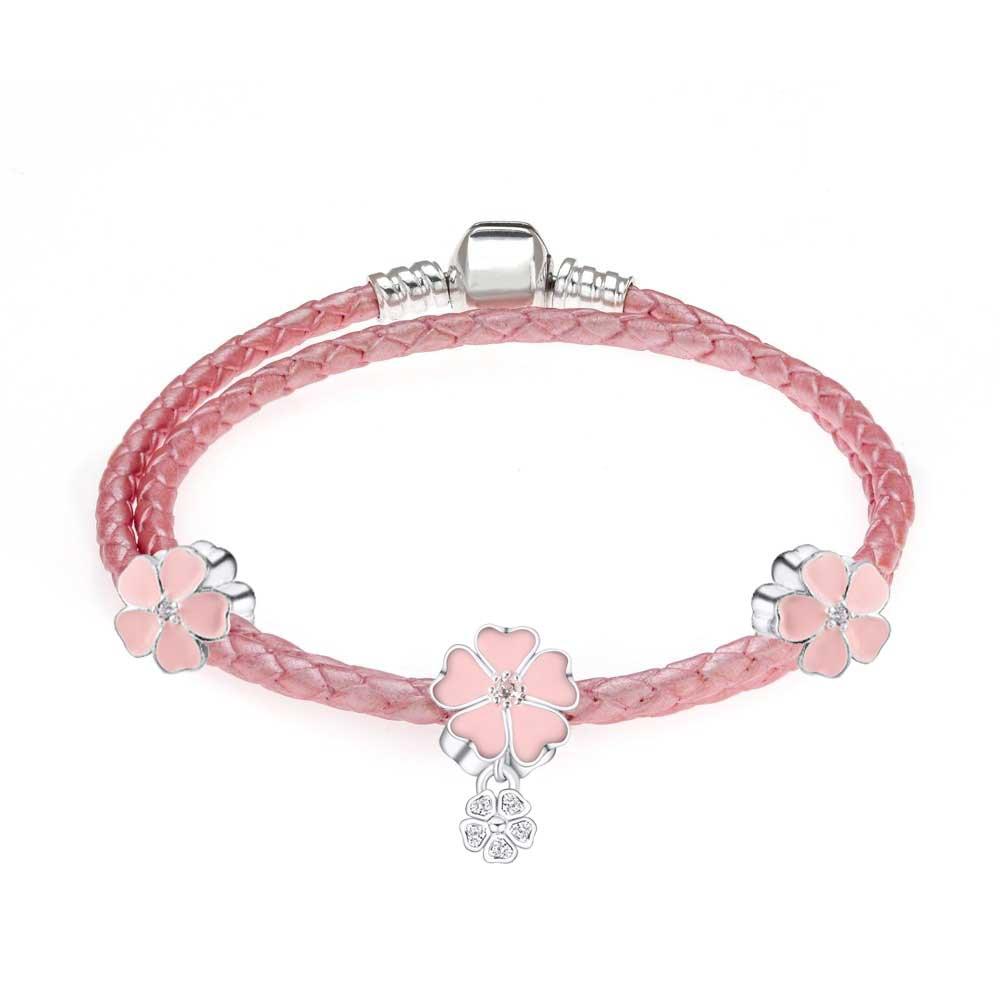 leather bangle bracelets with charms womens fit pandora
