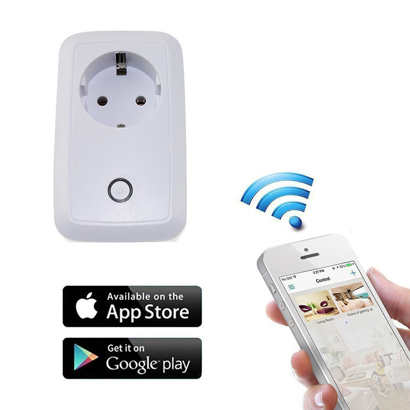 Wireless White Smart Wifi Plug Power Socket App Remote Control Timer Switch Wall Plug Home Appliance Automation EU US Style wireless smart socket power control appliance control switch compatible with home security 868mhz x6 alarm system eu uk us plug