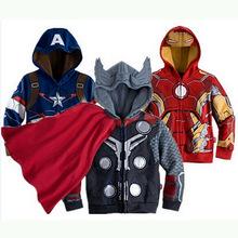 Spring Autumn Boys Jackets Coats Terry Avengers Iron Man Superhero Hooded Jackets For Boys Children Outerwear Kids Clothes
