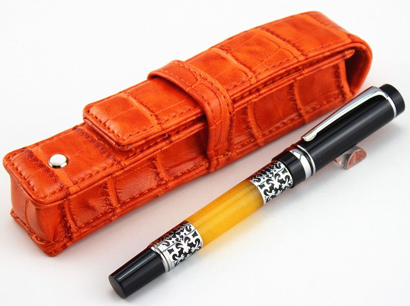 Free shipping  Black and white clip Fountain pen + CROCODILE orange leather bag# best gift steel hopkinson 800 white clip 12k fountain pens gift fountain pen free shipping