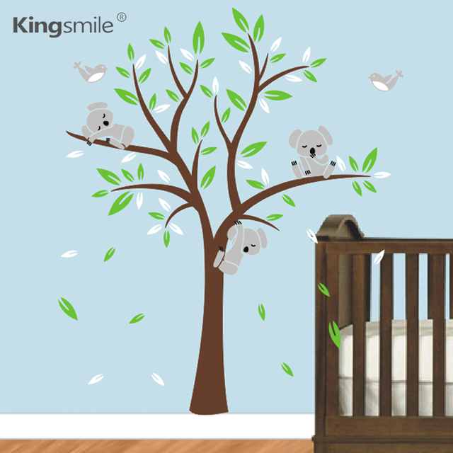 Modern Koala Tree Wall Stickers Nursery Art Decals Vinyls Baby Kids Bedroom  Decor Childrenu0027s Wall Sticker