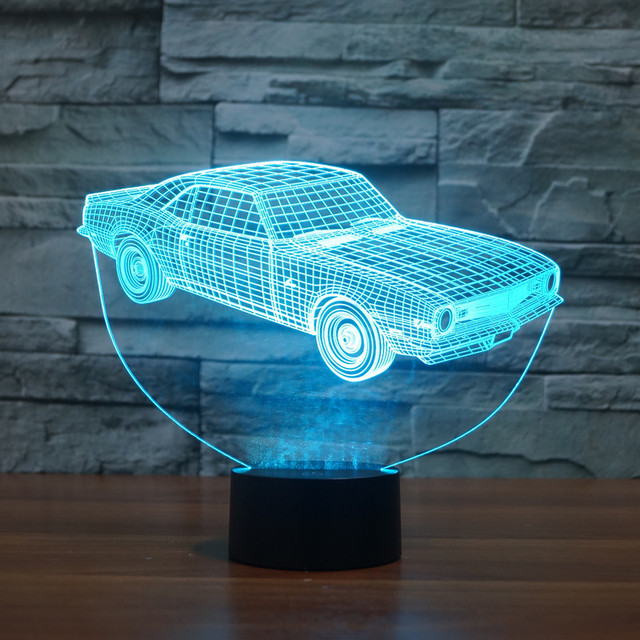 Old School Retro 3D Lampe ABS Basis Oldtimer Modell Nacht Licht Led  Beleuchtung Spielzeug Luminaria
