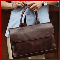 2019 British style men's travel bags shoulder men messenger bags high quality leather bag briefcase retro men's travel bags 3081